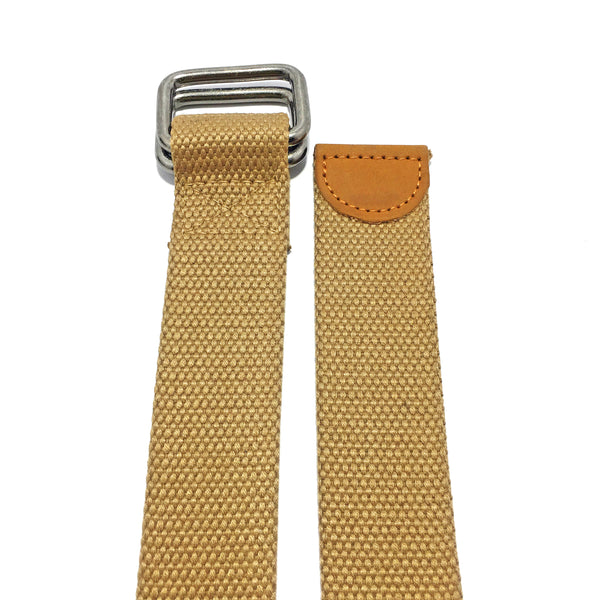 Ficuster Unisex Double Ring Metal Buckle Tan Cotton Canvas Braided Belt