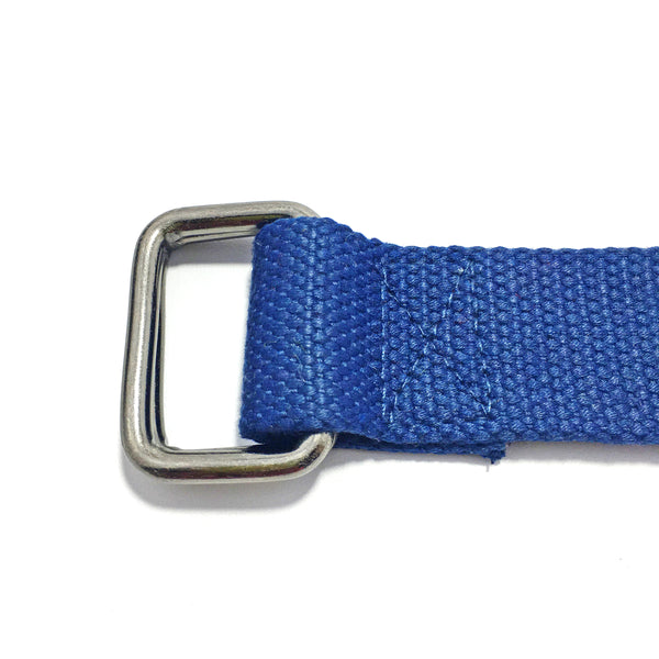 Ficuster Unisex Double Ring Metal Buckle Dark Blue Cotton Canvas Braided Belt