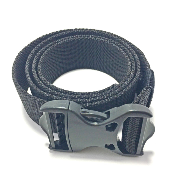 Ficuster Unisex Push Lock Plastic Buckle Black Nylon Canvas Braided Belt