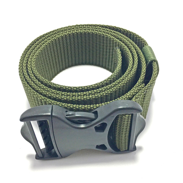 Ficuster Unisex Push Lock Plastic Buckle Military Green Nylon Canvas Braided Belt