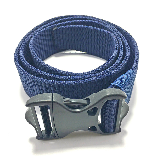 Ficuster Unisex Push Lock Plastic Buckle Dark Blue Nylon Canvas Braided Belt