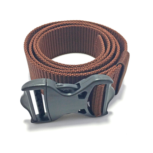 Ficuster Unisex Push Lock Plastic Buckle Brown Nylon Canvas Braided Belt