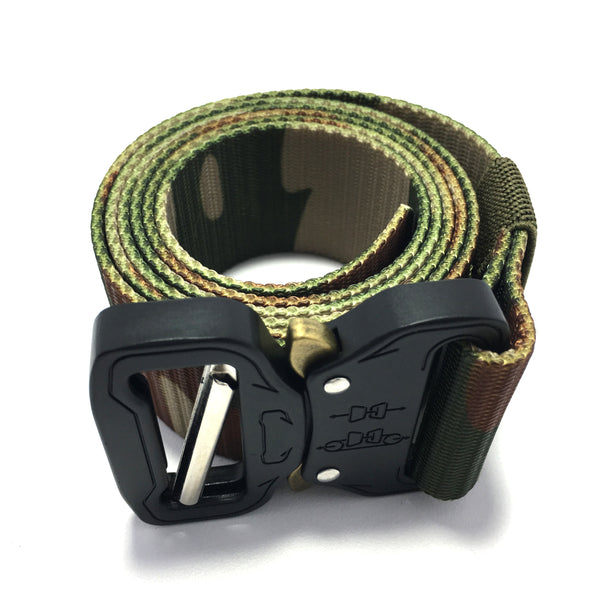 Ficuster Unisex Dark Green Camouflage Pattern Nylon Canvas Braided Belt