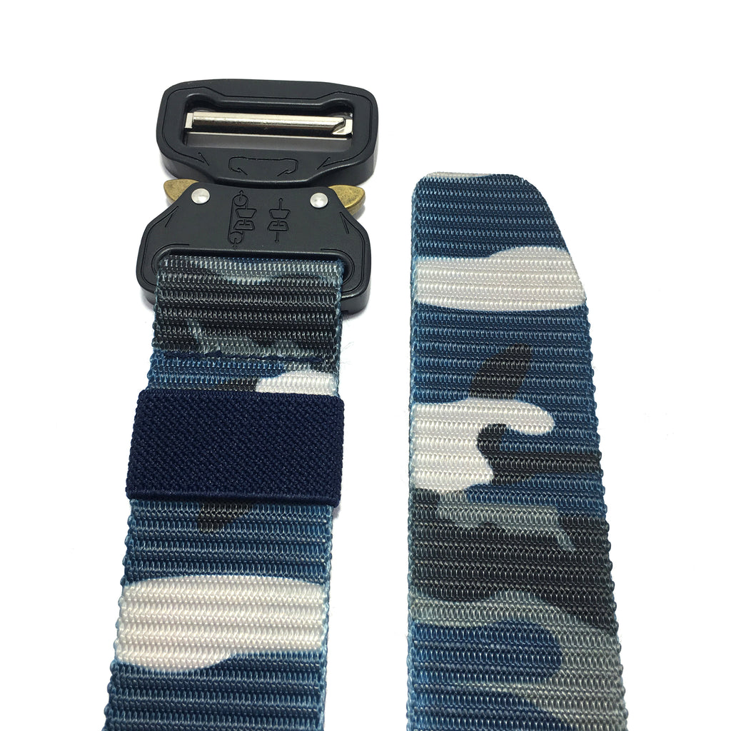Ficuster Unisex Blue Camouflage Pattern Nylon Canvas Braided Belt