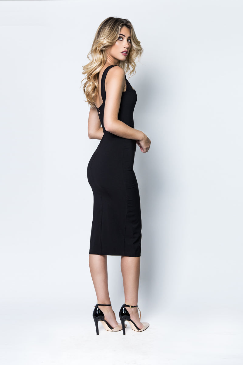 Divine Midi Dress in Black