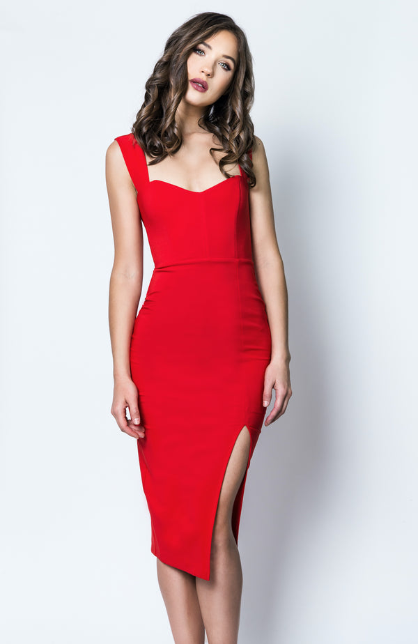 Divine Midi Dress in Red