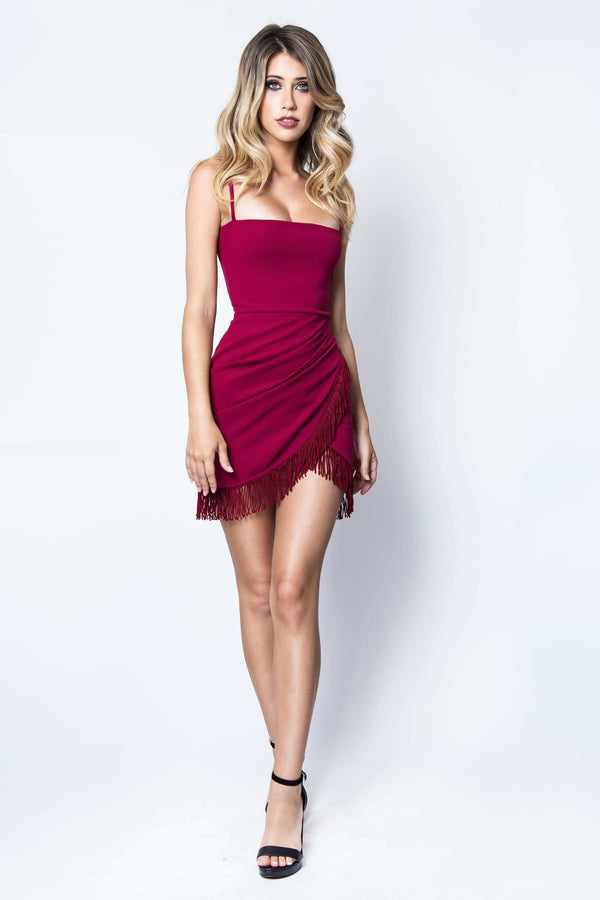 Fever Fringe Mini Dress in Ruby