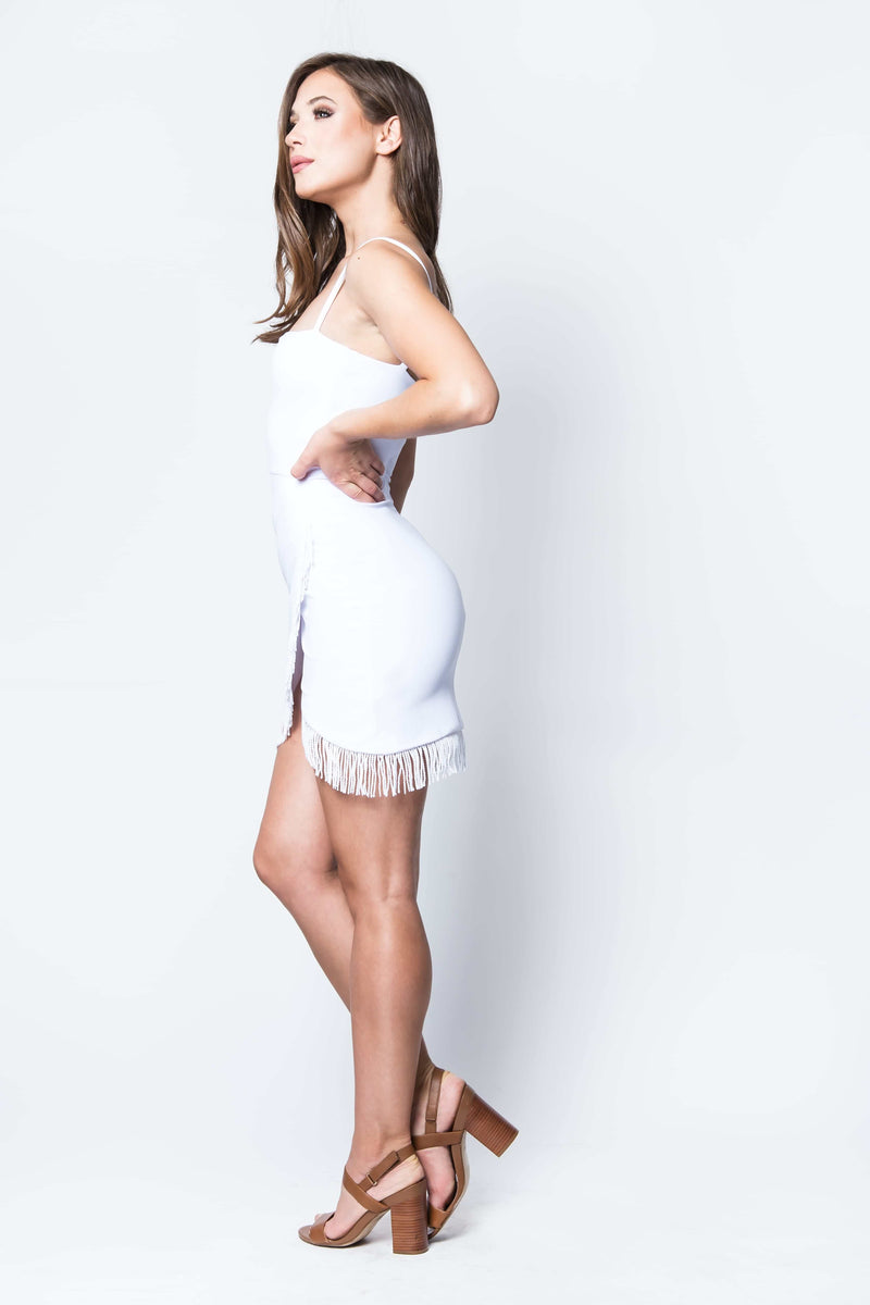 Fever Fringe Mini Dress in White