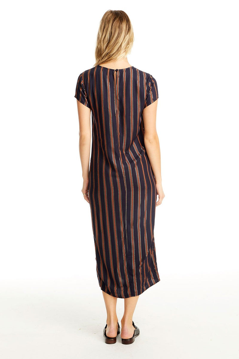 Skye Midi Dress in Metallic Stripe
