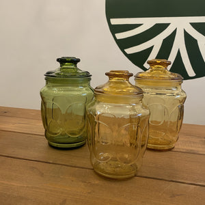Vintage Thumbprint Glass Jars