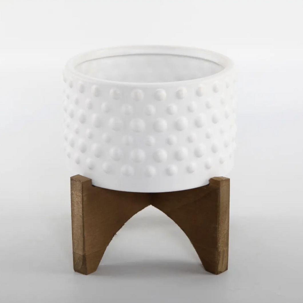 Hobnail Ceramic Planter On Wood Stand
