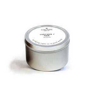 Leather & Oak Metal Tin Soy Candle