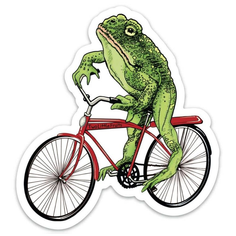 Frog on a Bike Sticker