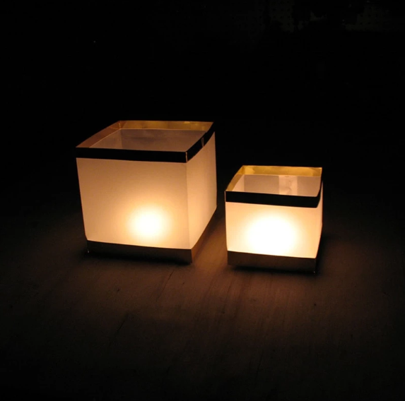 10 Piece Square Floating Candle Set - edentreecandles