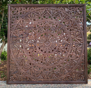 Hand Carved Mandala Headboard
