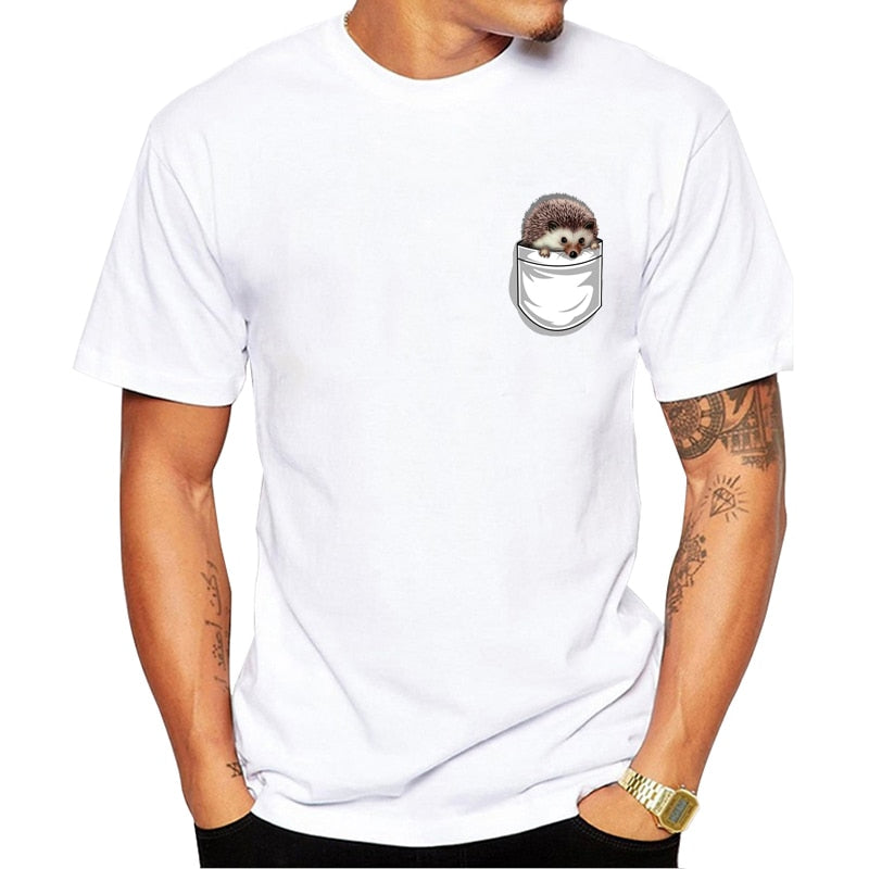 Funny Mens Summer T-Shirt with Hedgehog Pocket