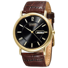 Citizen Men's Eco-Drive Gold-Tone Leather Watch #BM8242-08E
