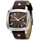 Diesel Unisex Black Leather Strap Black Dial Watch