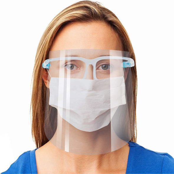 Anti-Fog Full Face Protective Shields (10-Sets) (10 Replaceable Shields & 10 Acrylic Frames)