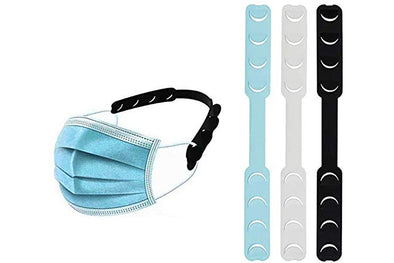 Mask Comfortable Ear Strap Hook - for Child Adult Adjusting Tightness(Blue/Black/White) (Pack of 10)
