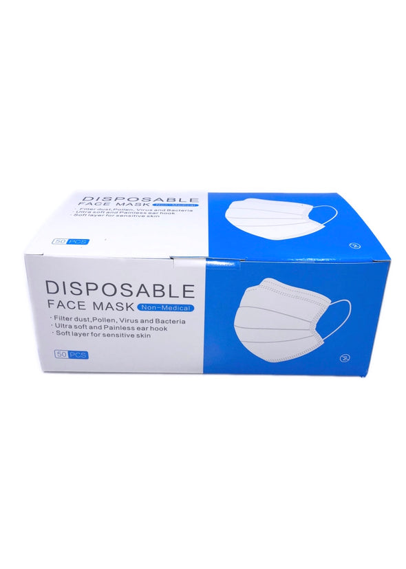 YuSha 3 Ply Disposable Face Mask (Blue & 50-pcs)