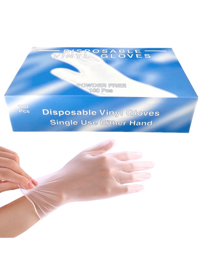 Powder-Free Disposable Vinyl Gloves (100-pcs)