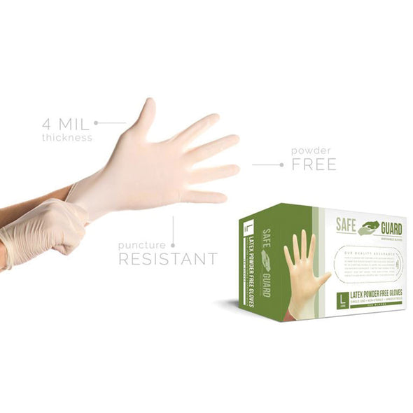 Safeguard Latex Powder Free Disposable Gloves(100-pcs)