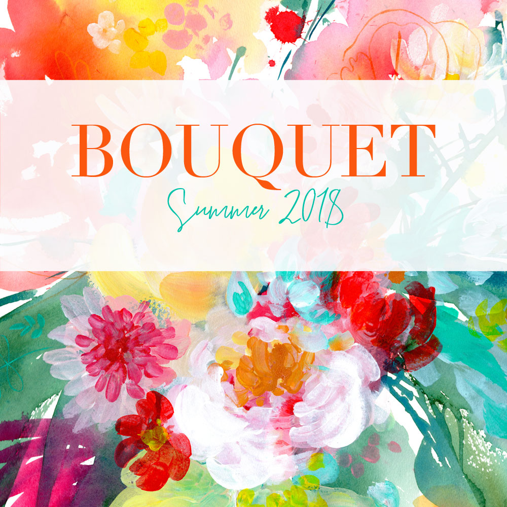 Bouquet original watercolor paintings by artist Ingrid-Sanchez AKA CreativeIngrid. Summer Collection, London 2018.
