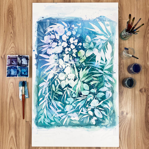 Jungle Dream-turquoise botanical watercolor by Ingrid Sanchez, Meanwhile 2020.