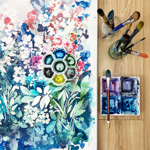 Meanwhile Garden, watercolor by Ingrid Sanchez, Meanwhile 2020.