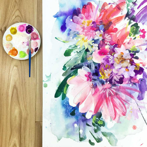Awaken, vibrant pink floral painting by Ingrid Sanchez.