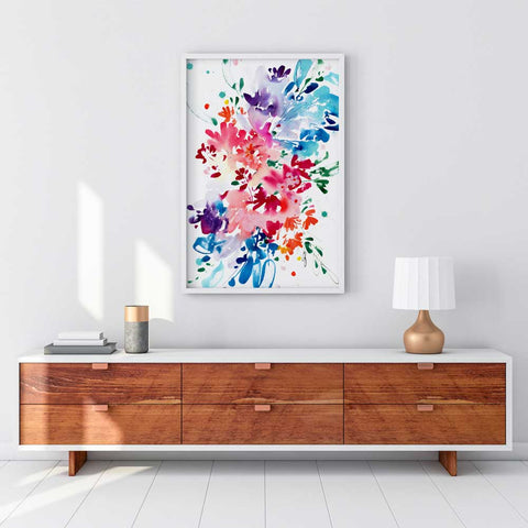 Aware, large wall art of abstract botanicals and flowers by Ingrid Sanchez, AKA CreativeIngrid.