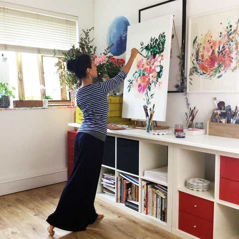 Ingrid Sanchez, AKA CreativeIngrid painting in her studio in London, Botanica Autumn 2019.