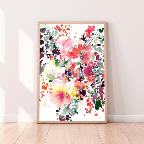 Enchanted Garden, large flowers original botanical watercolor art by Ingrid Sanchez, CreativeIngrid. London.
