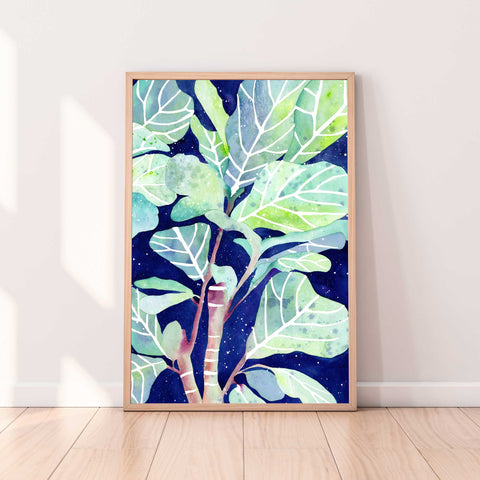 Fig Plant Dream, Original art of a Fig plant with bright green and turquoise leaves and a background of a blue galaxy texture. Ingrid Sanchez, CreativeIngrid 2021.