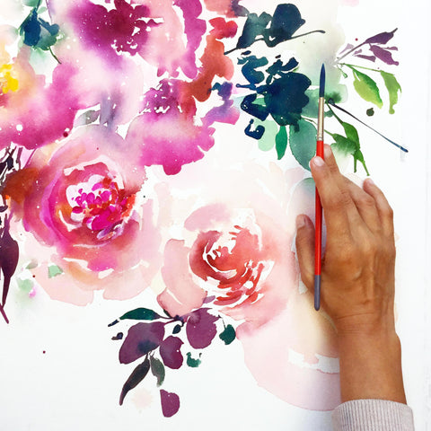 Floral Delight, Floral painting by Ingrid Sanchez.