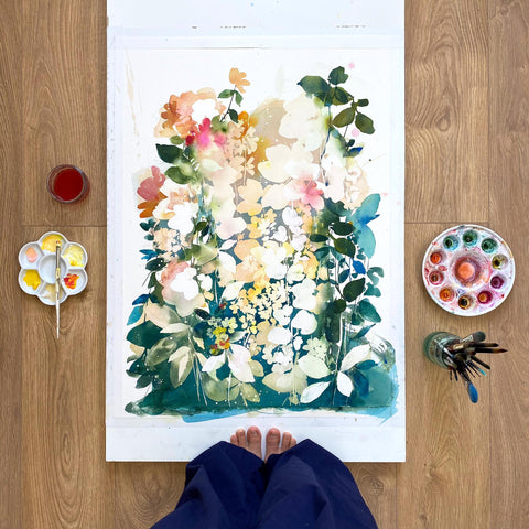 Small yellow flowers and large blooms merging with an ethereal leafy background. 'Soulful Yellow Garden', Spring Collection 2021. London, Ingrid Sanchez.
