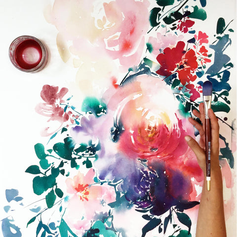 Wisdom, large floral watercolor painting by artist Ingrid Sanchez, CreativeIngrid.