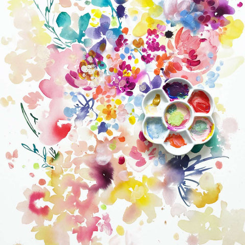 Aura, flowers and watercolor palette. Ingrid Sanchez.