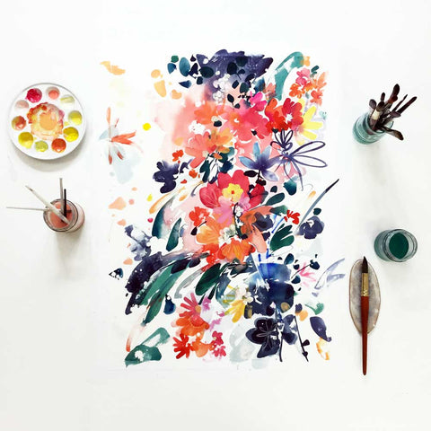 Blooming Wild, original painting by mexican-british artist Ingrid Sanchez, AKA CreativeIngrid. Art for your walls.