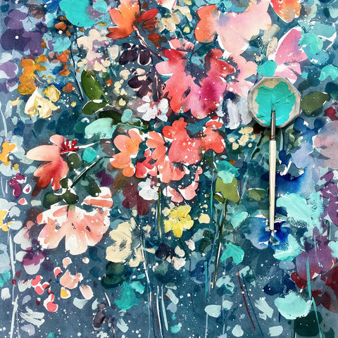 Blooming night, turquoise botanical painting by Ingrid Sanchez, AKA CreativeIngrid.