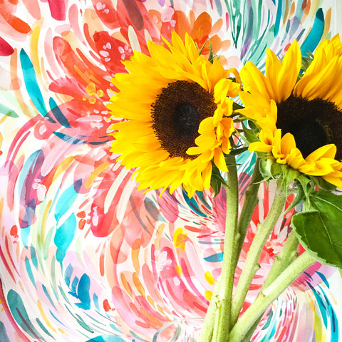 Sunflowers with a watercolour painting behind by CreativeIngrid | Ingrid Sanchez.