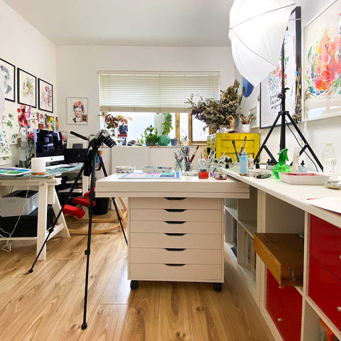 Taking photos in my studio for DIY Watercolor Christmas.