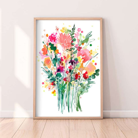 Caramel, watercolor bouquet of flowers by Ingrid Sanchez.