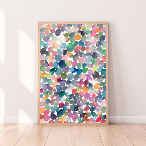 colorful pebbles watercolor art print-CreativeIngrid