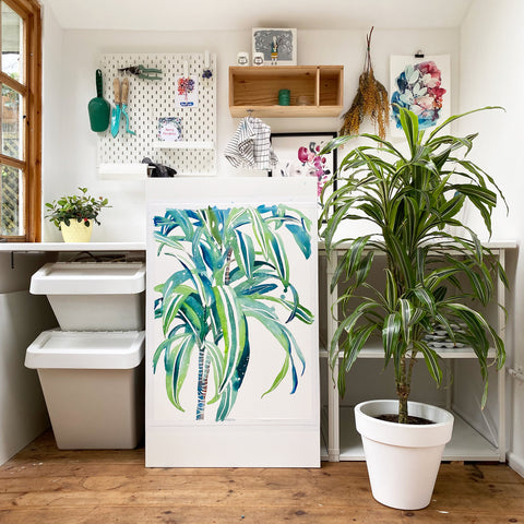 Corn Plant painting with lots of different green and blue shades and a hint of warm earthy red.  Ingrid Sanchez, CreativeIngrid 2021.