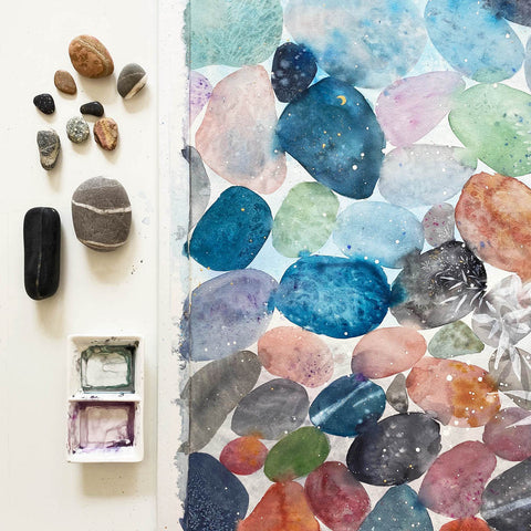Cosmic Pebble wall art by Ingrid Sanchez-CreativeIngrid