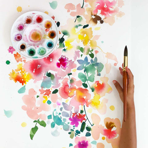 Floral Bustle, bright and colorful watercolor painting. Wall art by Ingrid Sanchez.