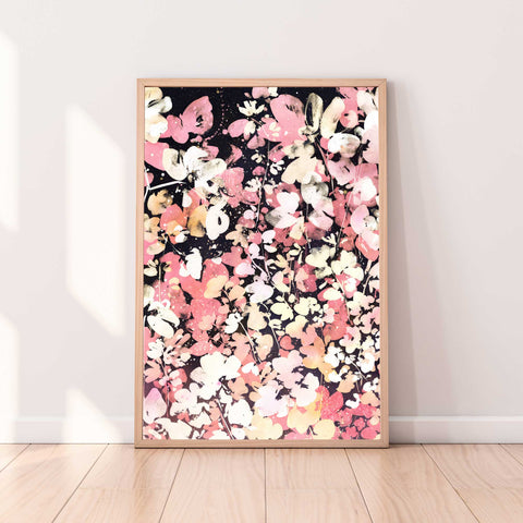 Floral Rise, pink flowers over a black night sky. Watercolor by Ingrid Sanchez, CreativeIngrid.
