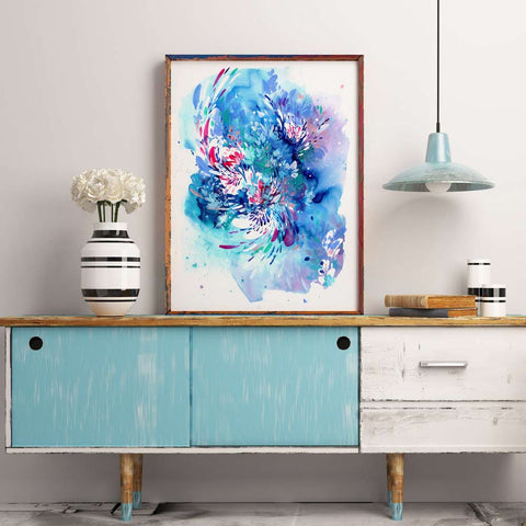 Floral Wave, blue botanical art by watercolor artist Ingrid Sanchez. London 2017.